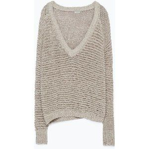 Zara Open Knit Beige V Neck Sweater, Size S